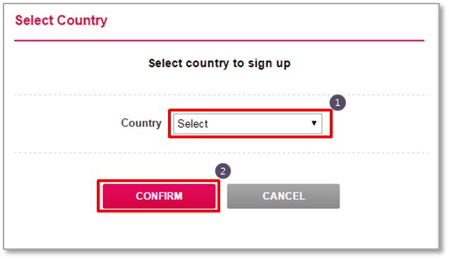 A popup to select a country for sign up.