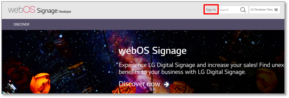 Sign In button on the main screen of the webOS Signage site.